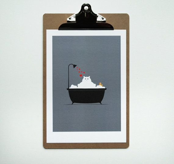 Bathroom Decor Cat Lover Gift Cute Cat Bathroom by thenosuchdisco, £10.00