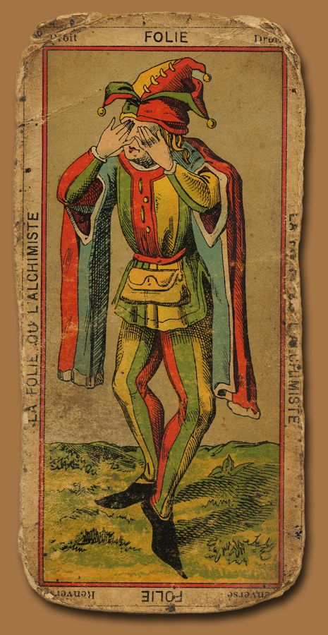 ~The Fool~   Antique Tarot  The only card not numbered in the deck, it is not known wether The Fool is first or last.