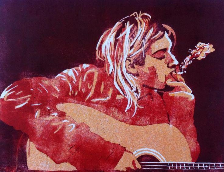 #art #arte #kunst #illustratie #illustration #lino #linocut #linoleum #linoleumsnede #woodcut #houtsnede #muziek #music #kurtcobain #Kurt Cobain #nirvana #gitaar #guitar #rock #rocknroll #smoke #rook #sigarette #acid #psychedelic #psychedelisch