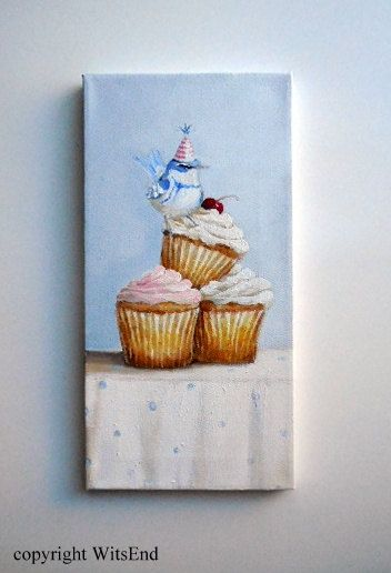 'BRIDGET WAS ALWAYS FIRST TO ARRIVE AT ANY PARTY'.  Bird Cupcakes painting original ooak blue warbler by 4WitsEnd, via Etsy