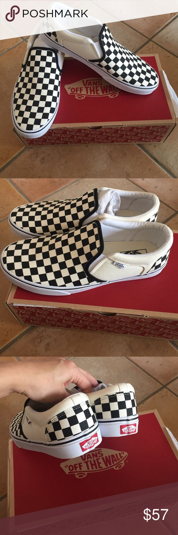 New Men's Vans shoes New with Box Checkered Print New Men's Vans shoes black checkered print New with Box.  I ship same or Next day :) Vans Shoes Sneakers