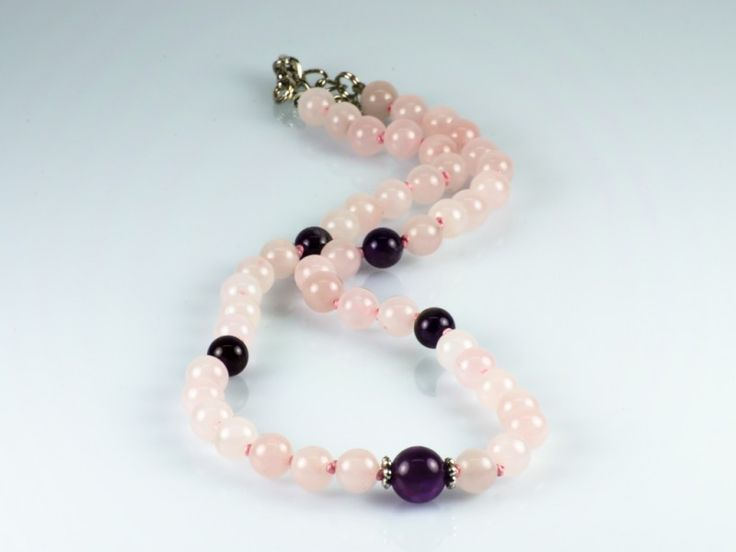 Natural Pink Quartz & Amethyst Gemstone Knotted Necklace   The Beaded Garden