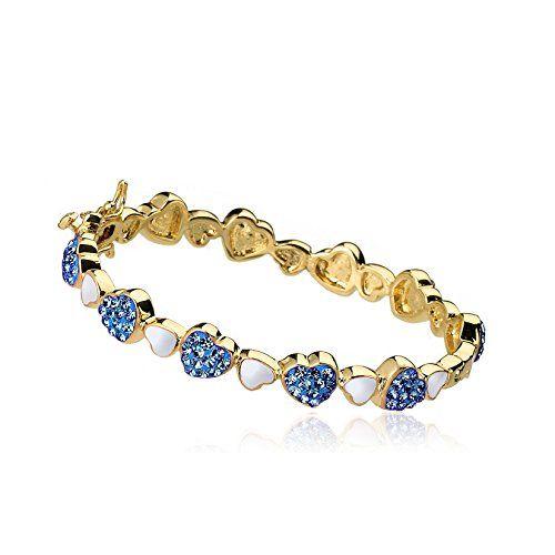 "Molly Glitz Girls' ""Heart of Jewels"" 14k Gold-Plated Alternating Blue Crystals and White Enamel Bangle Bracelet"