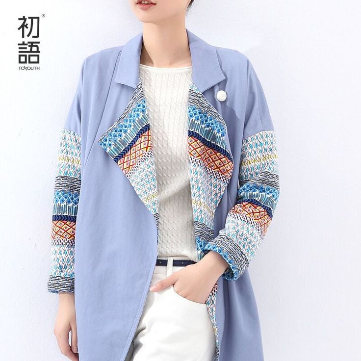 Toyouth 2015 Women Autumn Turtleneck Trench  Medium-long  Print Loose Plus Size Women Patchwork  Trench