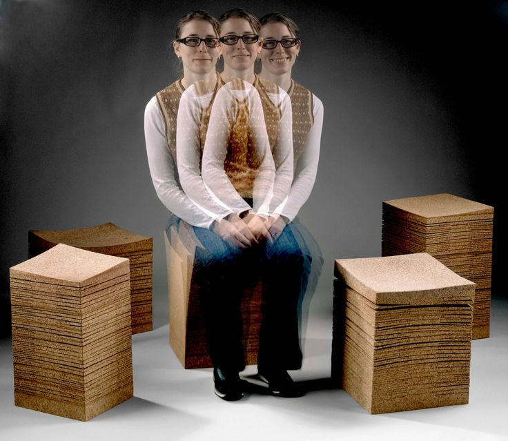 Niedriger Hocker aus Kork SWAY by Daniel Michalik Furniture Design Design Daniel Michalik
