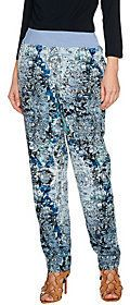 As Is LOGO by Lori Goldstein Printed Challis Pants with Knit Waistband