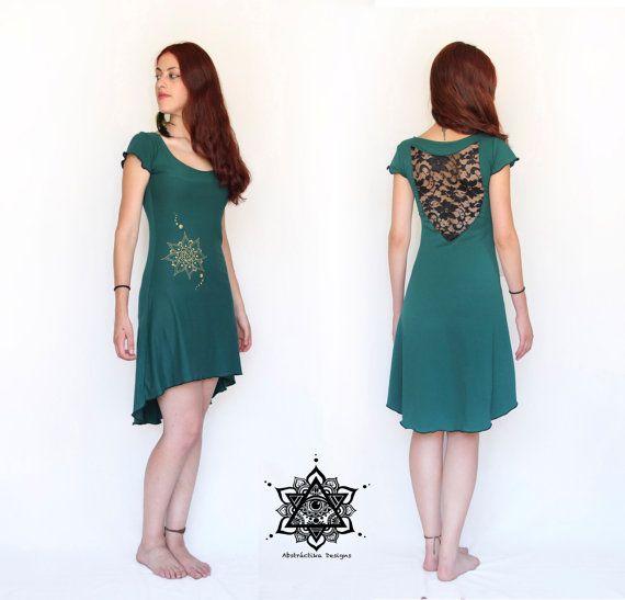 Boheemse lace dress. Gehaakte jurk. Pixie jurk. Godin jurk.