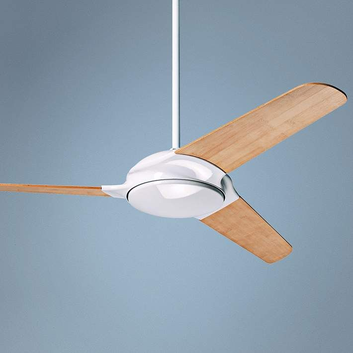 "52"" Modern Fan Flow Bamboo - Gloss White Ceiling Fan - #6J065 