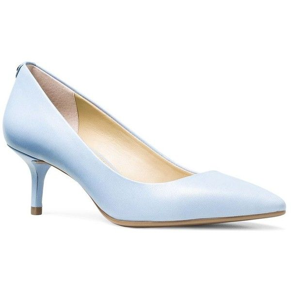 Michael Michael Kors Flex Kidskin Kitten Pumps ($99) found on Polyvore featuring women's fashion, shoes, pumps, pale blue, slip on pumps, slip-on shoes, michael michael kors, michael michael kors shoes and cushioned shoes