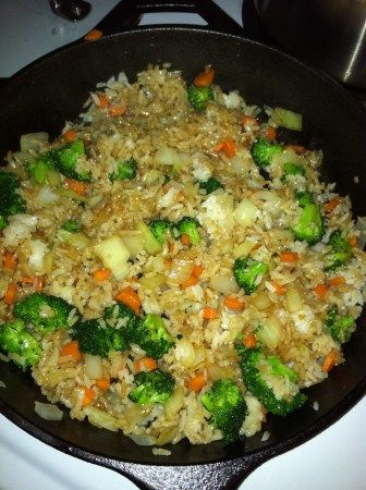 Final vegetable fried rice ... Wonderful recipes, prepared in a Lodge Cast Iron Skillet ... USA Made Since 1896!