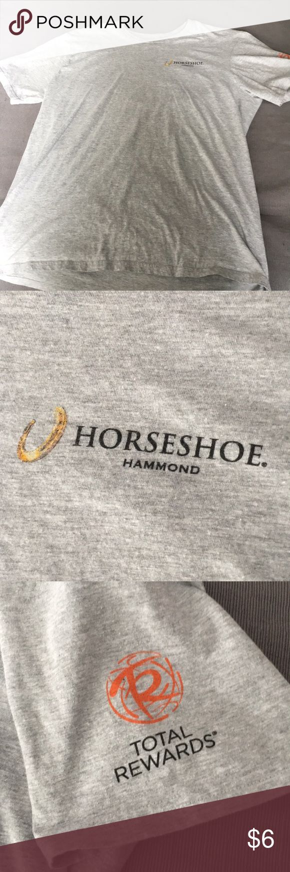 """Horseshoe t- Shirt """"monopoly win big"""" XL grey Horseshoe casino T-shirt from Hammond, Indiana With """"total reward"""" on the sleeve and """"play here monopoly win big"""" XL grey Shirts Tees - Short Sleeve"""