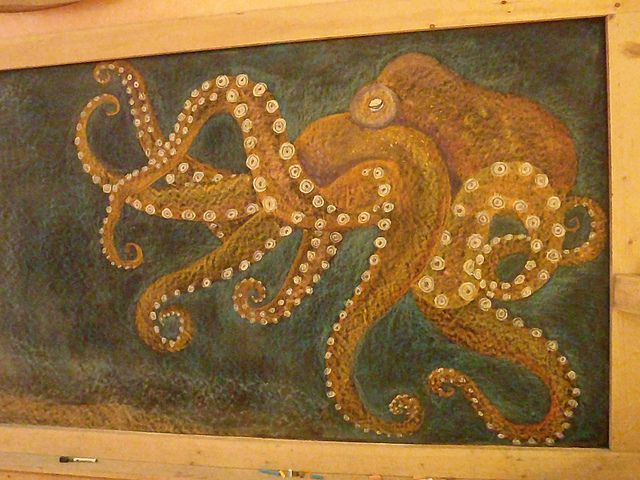Waldorf ~ 4th grade ~ Human & Animal ~ Octopus ~ chalkboard drawing