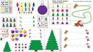 Детские игры на новый год  материалы для тематического занятия free winter and Christmas worksheets for kids