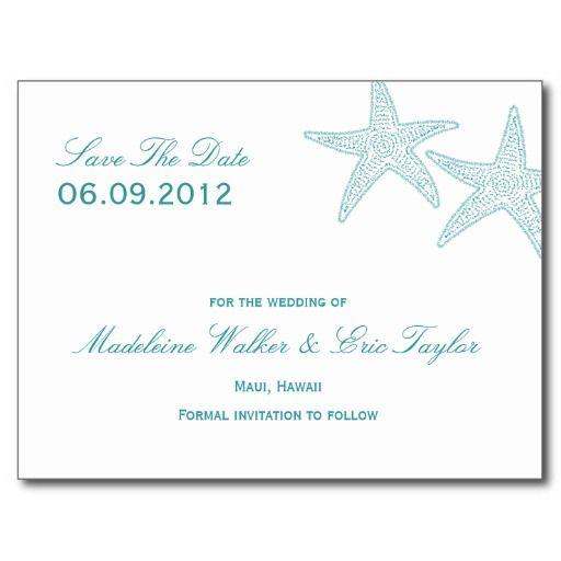Starfish Save The Date Postcard - Turquoise