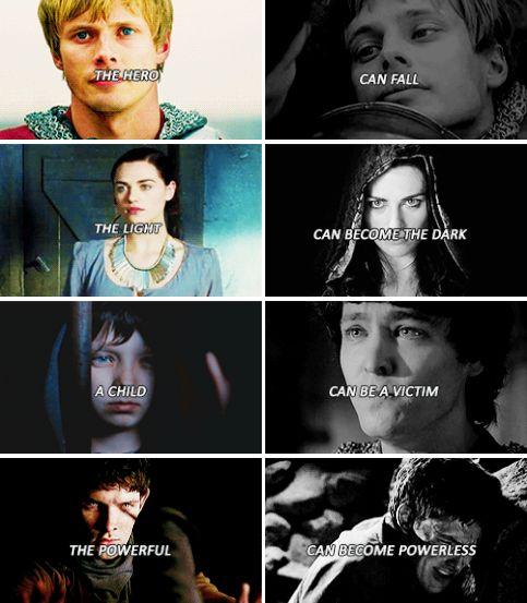 Arthur, Morgana, Mordred, and Merlin