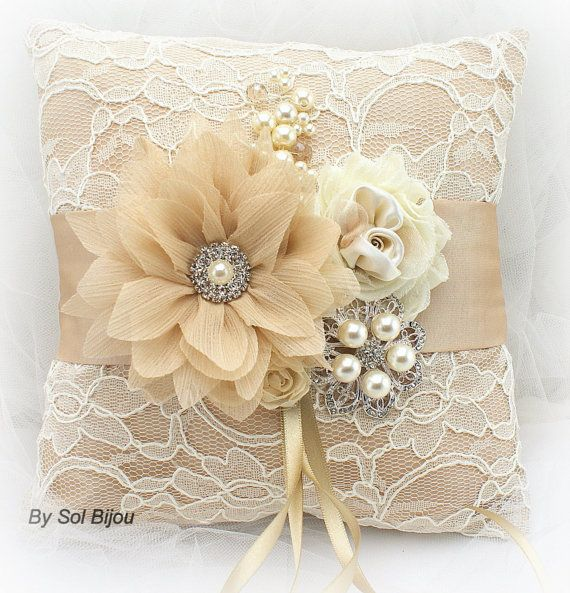 Ring Bearer Pillow Champagne Gold Tan Cream Ivory by SolBijou