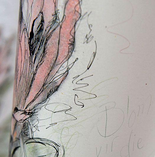 Hermien Van Der Merwe; Detail of 'Blom vir die Koning', (Flower for the King), in mixed media on paper.
