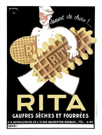 Belgium Rita Waffle Bisquit Giclee Print; would be great in a kitchen with other vintage food advertisements