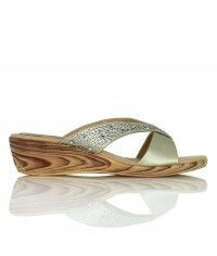 Kokomo - Gold thong with crystals on a wood-grain wedge casual wedding bridal shoes $49.00 #shoeenvy #shoes #fashion #instalove #pretty #ethical #glamorous