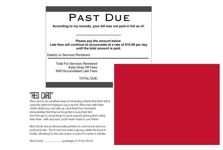 Past Due Cards - the easy way to tell your daycare parents to pay - how to write a bill for services rendered