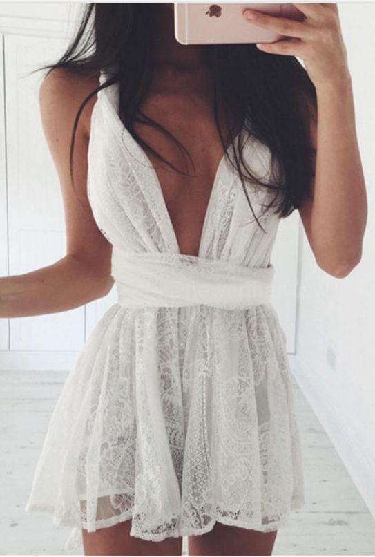 Backless Spaghetti Strap White Lace Back Cross V-neck Short Dress