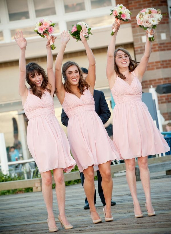short blush pink bridesmaid gowns for summer wedding 2014