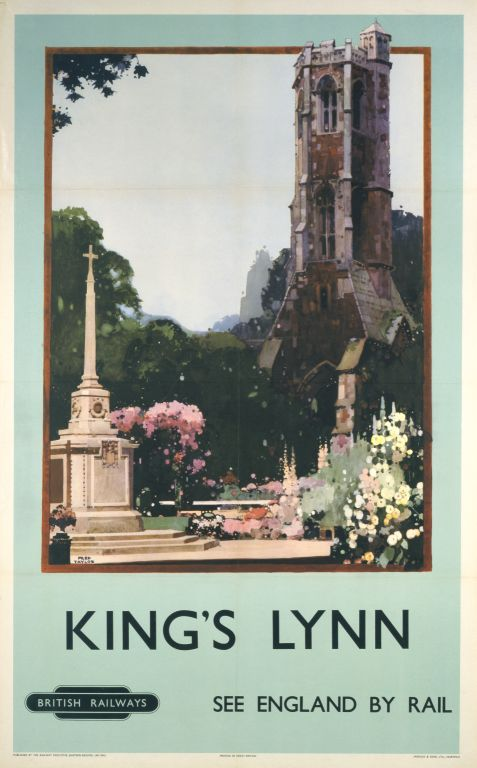 'King's Lynn', BR poster, 1948-63., Poster produced for British Railways (BR) to promote rail travel to King's Lynn, Norfolk. The poster shows one of the town's colosal spires rising into the sky. Artwork by Fred Taylor,jul16