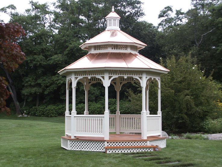 The 12-ft. Victorian gazebo from Vixen Hill is available with a copper of cedar shingle roof. Photo: courtesy of Vixen Hill