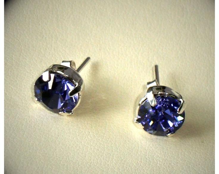 Swarovski Tanzanite stud earrings www.taralenasjewels.com $25.00