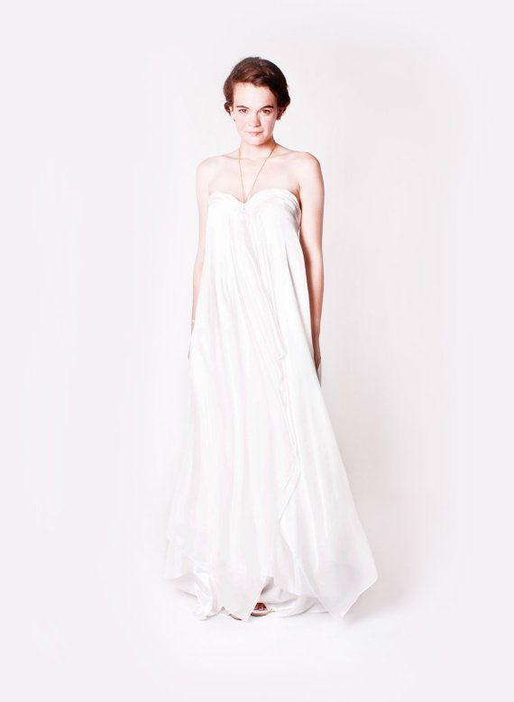 Silk Boho Wedding Dress UK Size 6-8 by Couturemango on Etsy