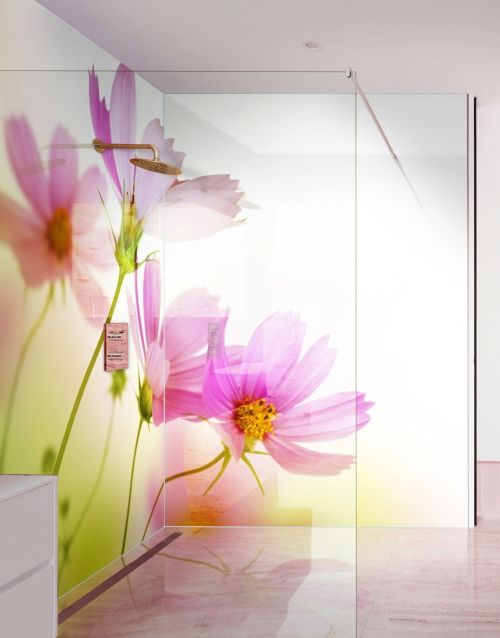 pink daisy printed picture shower panel