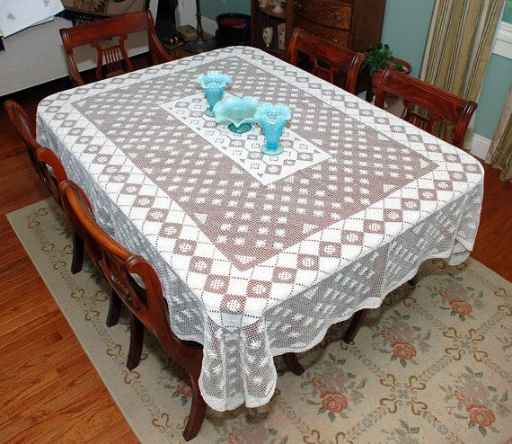 Filet Net Lace Tablecloth  Handmade  Large by LovelyLinensandMore, $65.00