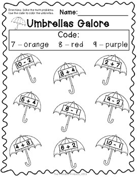 puddles umbrellas and raincoats oh my an april themed math freebie the printable. Black Bedroom Furniture Sets. Home Design Ideas
