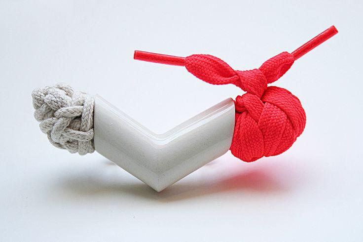 Yana Tankovska Brooch: Blick, 2015 porcelain, fiber top: