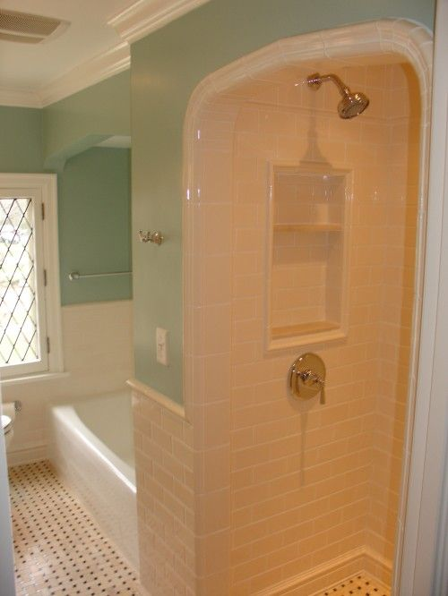 Tub With Separate Standing Shower Combo. Craftsman Style Bath Remodel: The  Wall Tile Is Pratt And Larson With A Special Glaze And Floor Tile Is A  Custom ...