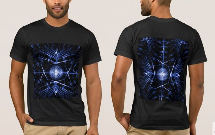 Men's Black T-Shirt with Black and Blue Digital Graphic Art