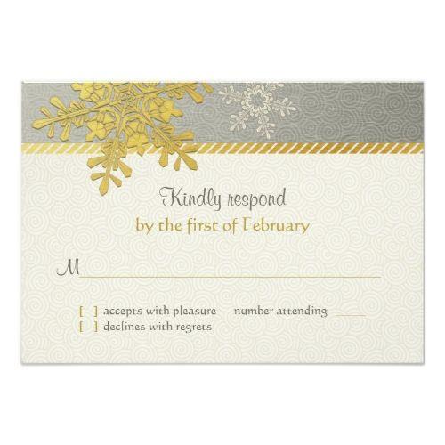 Winter Wedding Reception Silver Gold Snowflake Winter Wedding Reply Card