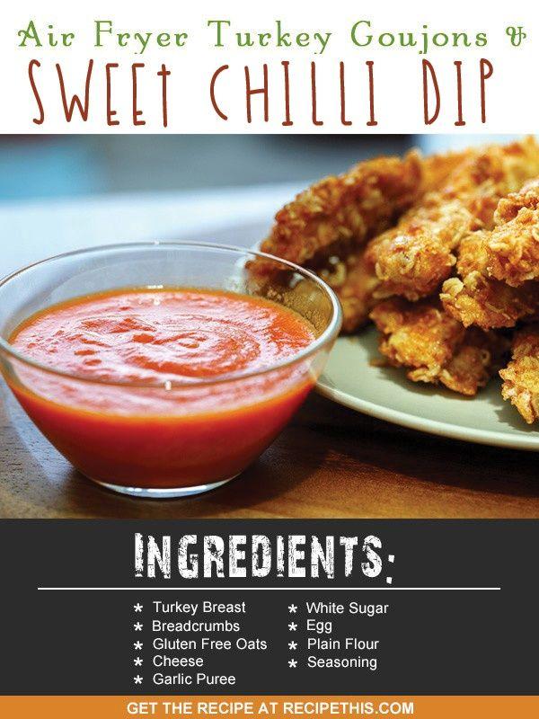 Air Fryer Turkey Goujons & Sweet Chilli Dip via @recipethis