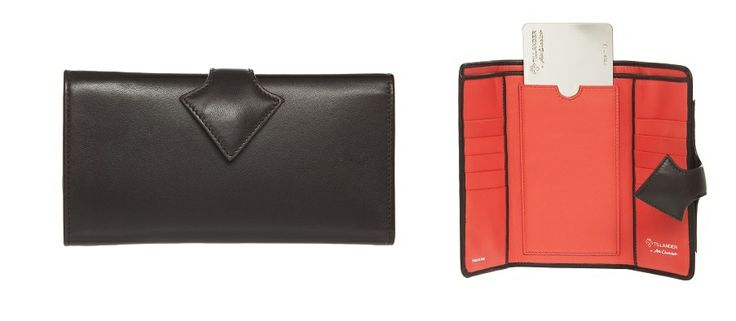 Tillander by Aki Choklat, MARIEL lompakko, wallet, leather, black, coral pink, Made in Italy