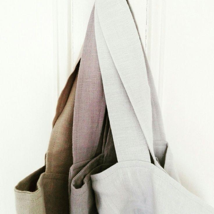 Beautiful linen in beautiful colours make beautiful japanese aprons!