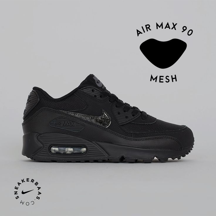 sneakerbaas Nike Air Max 90 Mesh - This Air Max 90 has a mesh upper in an  all black colorway.