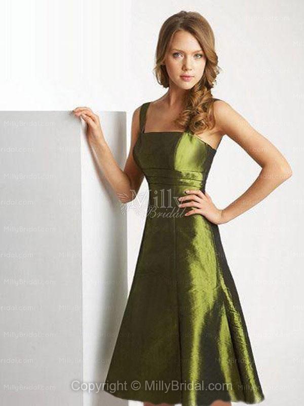 A-line Square Green Taffeta Sleeveless Tea-length Bridesmaid Dress
