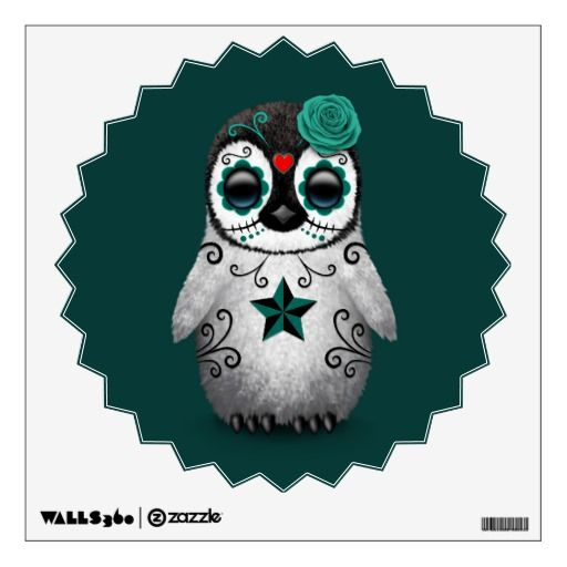 Blue Day of the Dead Sugar Skull Penguin Teal Wall Sticker