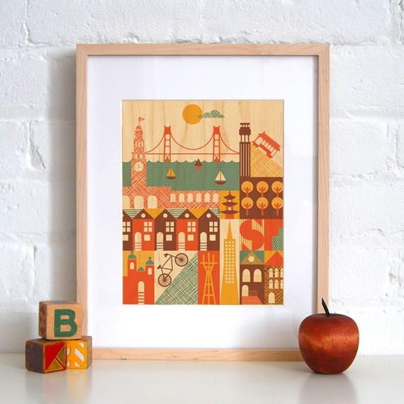 San Francisco print - this is adorable but also pieces of it could be used in collage idea