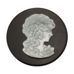 Large Mother of Pearl Cameo and Onxy Coin from Quoins, QMS-01. Openwork high gloss stainless steel coin with mother of pearl. Large coin fits 33mm locket ONLY.