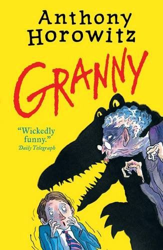 Granny by Anthony Horowitz. Twelve-year-old Joe Warden isn't happy. Sure, he's rich, but his parents don't care about him. His grandmother should make everything better, except that Joe's granny is a nightmare. She's not just physically repulsive, she's horribly mean. Everyone thinks she's just a dotty old woman, but Joe knows the truth. He's seen behind her mask and glimpsed the wicked glimmer in her eyes—she is pure evil. And now she's out to get Joe . . .