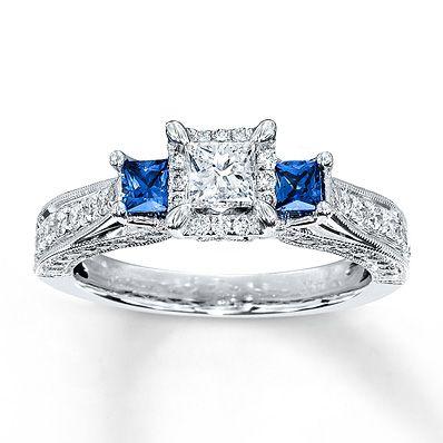 Diamond/Sapphire Ring 1 ct tw Princess-cut 14K White Gold  I like this one I just wish the diamond under the big diamond was a sapphire