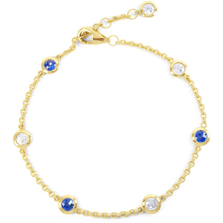 By the Yard Blue and White Sapphire 18ct Gold Vermeil Bracelet