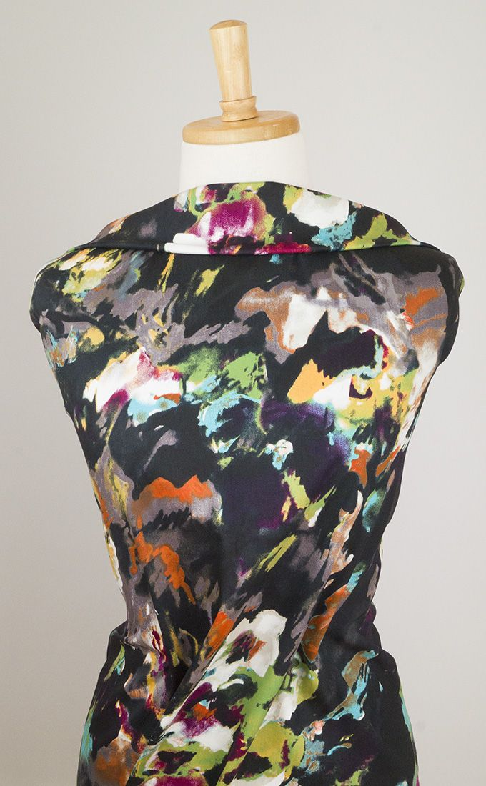 Lovely quality, attention-grabbing floral painted stretch cotton sateen fabric. Perfect for dresses, tops, tunics and even trousers to flourish in the sun.