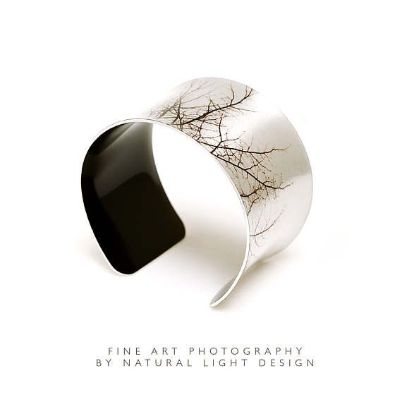 Bangle - Cuff Bracelet - Tree Tops Monochrome - Handmade Aluminium Cuff - Nature Gifts - Abstract - Wide Bangle - Aluminum Bracelet